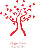 Tree and hearts in silhouette — Stock Vector