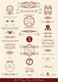 Set of vintage frames and icons — Stock Vector