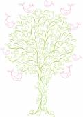 Spring tree with flying birds — Stock Vector