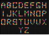 Set of digital letters — Stock Vector