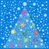 Snowflakes and christmas tree — Vettoriale Stock