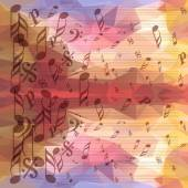 Vintage music notes on wrapped background — Stock Vector