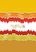 Autumn motives on torn off paper — Stock Vector