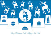 Houses and reindeers silhouettes — Stock Vector