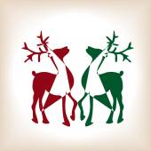 Triangled christmas reindeers — Stock Vector