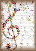 Bright clef made of music elements — Stockvector