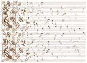 Vintage music notes background — Vetor de Stock