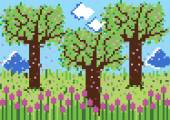 Pixels spring scene — 图库矢量图片