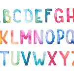 Colorful watercolor aquarelle font type handwritten hand draw doodle abc alphabet letters. — Stockfoto #51912597