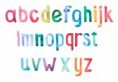 Colorful watercolor aquarelle font type handwritten hand draw doodle abc alphabet letters. — Stock Photo