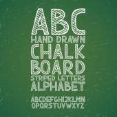 Blackboard chalkboard Chalk hand draw doodle abc, alphabet grunge scratch type font vector illustration — Stock Vector