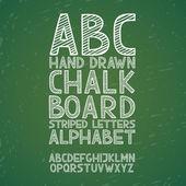 Blackboard chalkboard Chalk hand draw doodle abc, alphabet grunge scratch type font vector illustration — Stock Vector