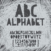 Chalk hand draw doodle abc, alphabet grunge scratch type font vector illustration — Stock Vector