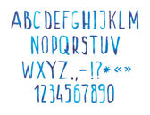 Blue watercolor aquarelle font type handwritten hand draw doodle abc alphabet letters and numbers. — Stock Photo