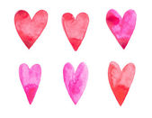 оттянутое красное сердечное любовное искусство руки акварели акварели подрисовывает белый фон — Стоковое фото