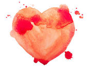 Main tirage aquarelle aquarelle art peinture rouge d'amour coeur — Photo