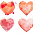 Hand draw watercolor aquarelle art paint love red heart with drop splatter stain — Stock Photo #53332177