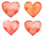 Hand draw watercolor aquarelle art paint love red heart with drop splatter stain — Stock Photo