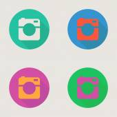 Hipster photo or video camera icon, minimalism style, flat design — Stock Vector