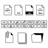Hand draw doodle sketch set of document file fomats icons — Vecteur