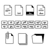 Hand draw doodle sketch set of document file fomats icons — Vettoriale Stock