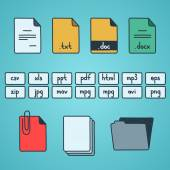Hand draw doodle sketch set of document file fomats icons — Vector de stock