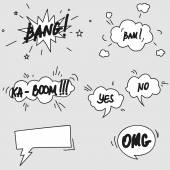 Set of hand drawn comic speech bubbles elements symbols and sound effects — Stock Vector
