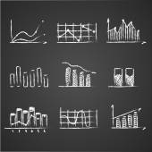 Business sketches finance statistics infographics doodle hand drawn elements on blackboard chalkboard. Concept - graph, chart, arrows — Stock Vector