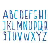 Blue watercolor aquarelle font type handwritten hand draw doodle abc alphabet letters and numbers Vector illustration — Stock Vector