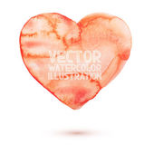 Hand draw watercolor aquarelle art paint love red heart Vector illustration — Stock Vector