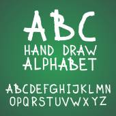 Vector textured rough abc alphabet hand drawn letters written with a brush on blackboard or chalkboard — Vector de stock