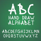 Vector textured rough abc alphabet hand drawn letters written with a brush on blackboard or chalkboard — Vetor de Stock