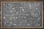 School college chalkboard hand drawn doodle sketch business ecomomic finance elements — Stock Photo
