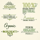 Organic health food headings natural product nature-themed badges and labels with green leaves hand draw handwritten text — Stok Vektör
