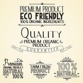 Premium quality organic health food headings natural product nature-themed badges and labels with green leaves hand draw handwritten text — Cтоковый вектор