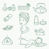 Spa doodle hand drawn sketch  icons set with  towels aroma candles beauty, health care, cosmetics, spa and wellness vector illustration — Vetor de Stock