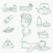 Spa doodle hand drawn sketch  icons set with  towels aroma candles beauty, health care, cosmetics, spa and wellness vector illustration — Vettoriale Stock