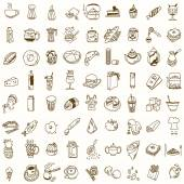 Morning breakfast lunch or dinner kitchen doodle hand drawn sketch rough simple icons coffee, tea, donut, teapot, cupcake, jam and other sweets — Stok Vektör