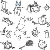 Hand drawn doodle sketch icons set fitness and sport concept healthy nutrition lifestyle, diet — Stock Vector