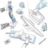 Teamwork, top view people hands sketch hand drawn doodle office workplace with business objects and items lying on a desk laptop, digital tablet, mobile phone — Stok Vektör