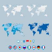 Political world map and geo tag pin pointers marker vector illustration — Stock vektor