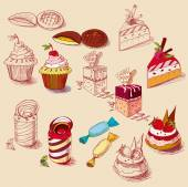 Hand drawn confections dessert pastry bakery products cupcake cookie muffin — Stok Vektör
