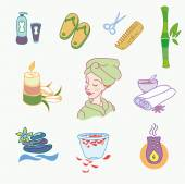 Spa doodle hand drawn sketch  icons set with  towels aroma candles  vector illustration — Vector de stock