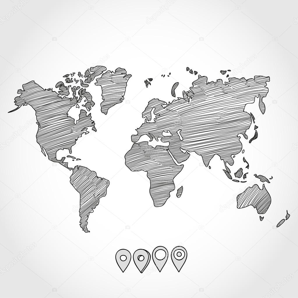 手绘涂鸦素描政治世界地图和地理标记针指针标志矢量图
