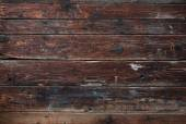 Old dark brown wooden pattern detailed surface planks background texture. — Stock Photo