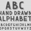 Hand drawn doodle sketch abc alphabet letters, vector illustration. — Stock Vector #67642979
