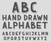Hand drawn doodle sketch abc alphabet letters, vector illustration. — Stok Vektör