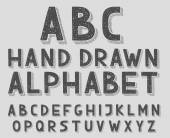 Hand drawn doodle sketch abc alphabet letters, vector illustration. — Cтоковый вектор