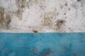 Street aged cement old wrecked rusty rough grunge white and blue colours wall texture background — Stockfoto
