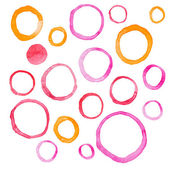 Hand draw watercolor rings circle round stains art paint Vector illustration — Stock Vector